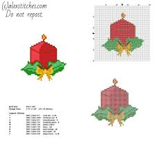 simple and small cross stitch christmas card with a candle free