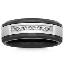 stainless steel mens rings men s stainless steel and ceramic 8mm diamond accent wedding band