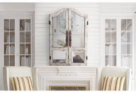 distressed rustic white wood wooden chicken wire wall