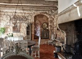 interior vintage rustic home decor with stone wall and antique