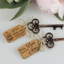 key bottle opener with wooden tag personalized favors