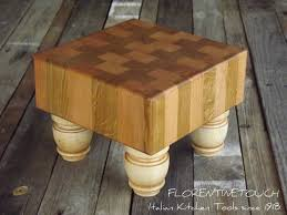 mini butcher block with turned legs inches 8 x 8 square zoom