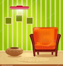 Green Striped Wallpaper Living Room Vector Room With Green Wallpaper And A Striped Armchair With A