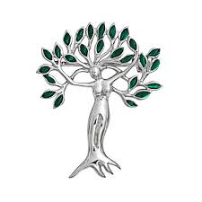 emerald color leaves tree of life goddess brooch pin 925 sterling