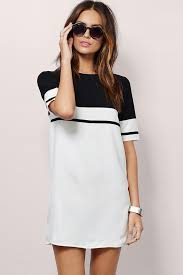 white two tone round neck t shirt dress casual dresses women