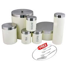 cream kosma stainless steel 7 pc storage canister set kitchen cream kosma stainless steel 7 pc storage canister