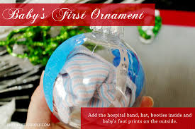 baby u0027s first christmas ornament idea footprints hospital band