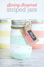 Easter Decorations Using Mason Jars by Spring Inspired Striped Jars The Crafted Sparrow