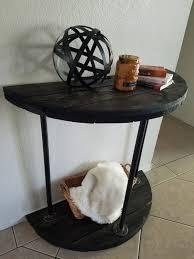 reclaimed wood table half moon table spool table farmhouse