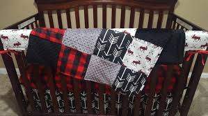 Minky Crib Bedding Baby Boy Crib Bedding Moose Black Arrow Black