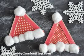 popsicle stick santa hats kid craft glued to my crafts