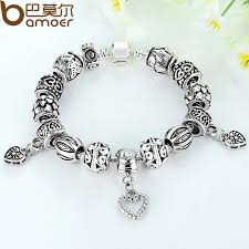 silver bracelet with heart pendant images Bamoer antique silver charm fit pan bracelet bangle silver 925 jpg