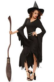 witch costume dresses women all black gothic witch halloween costume dress high low role