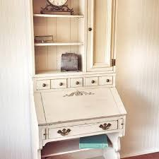Antique White Desk With Hutch Vintage Pennsylvania House Painted Two Desk Hutch