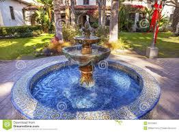 california backyard mexican tile fountain garden mission san buenaventura california