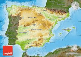 physical map of spain physical map of spain darken land only