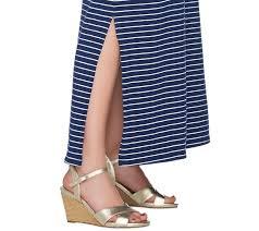 isaac mizrahi live striped short sleeve knit maxi dress u2014 qvc com