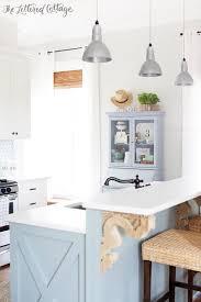 cottage kitchen gray owl paint heather gray island