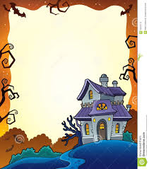 haunted house clipart frame pencil and in color haunted house