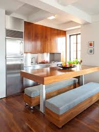 wood metal portable kitchen island with seating for long padded