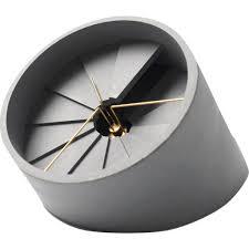 Clock Design 22 Design 4th Dimension Concrete Table Clock Gold Gray Sportique