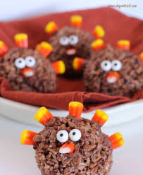 thanksgiving fun desserts turkey krispies treats i dig pinterest
