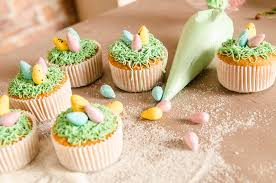 Easter Decorations On Cupcakes by Beautiful Cute Easter Cupcakes With Easter Decorations Stock Photo