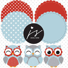 Flag With Red Circle Red Blue Owl Clipart With Digital Paper In Chevron Dots Stripes