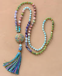 tassel necklace bead images 108 beads mala natural stone nepal charm long tassel necklace jpg