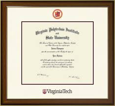 virginia tech diploma frame virginia polytechnic institute and state diploma frames