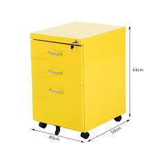 Yellow Filing Cabinet Uk Homcom 3 Drawers Metal Filing Cabinet Lockable W Wheels Yellow
