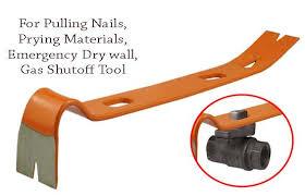 heavy duty pry bar flat nail puller emergency gas valve slots