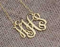 3 initial monogram necklace silver 3 initial monogram etsy