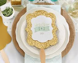 wedding fan favors personalized gold glitter fan rustic wedding fan