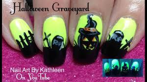 halloween graveyard scene nail art tutorial youtube
