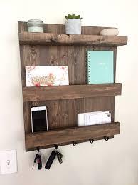 mail shelf mail organizer wood floating shelf key hook