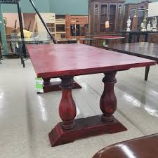 dining table red finish