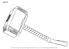 learn how to draw thor s hammer thor step by step drawing