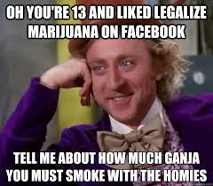 Legalize Weed Meme - oh you re 13 and liked legalize marijuana on facebook tell me