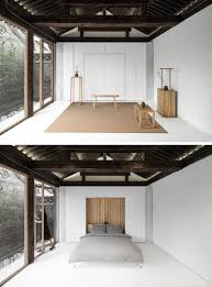 this renovated historical residence features tile flowing from the going into the next building is a leisure room that can be converted into a bedroom the furniture box hides the bed which can be pulled down when the room