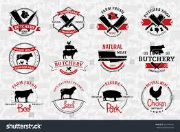 set butchery logo templates butchery labels stock vector 320969420