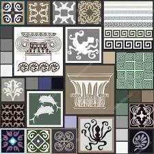 mega set of ancient greece patterns columns meanders octopuses