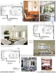 concept board and furniture layout for a living room jill
