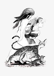 imagen blanco y negro en illustrator gato blanco y negro girl illustrator blanco y negro cat chica