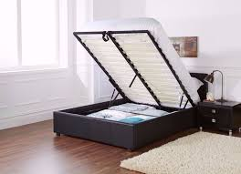 double leather storage bed frame with ottoman gas lift up with