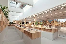 store interior design penda develops pixelated wooden interior for tech store