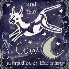 cow jumped over the moon chalkboard art painting by mindy sommers