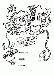 birthday party card animals coloring page for kids holiday