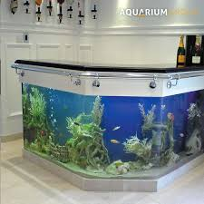 custom angled l shape bar fish tank unit with stools fishies