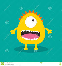 yellow monster with one eye teeth tongue funny cute cartoon
